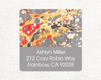 personalized return address label - vintage marble paper ASHLYN GRAY - square label - address sticker - gray marble - set of 48
