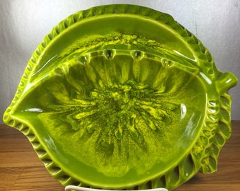 California Pottery Green Leaf Ashtray