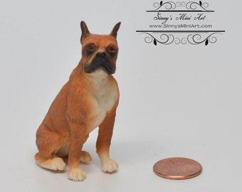 1:12 Dollhouse Miniature Sitting Boxer/ Miniature Dog/ Miniature Pet AZ A2185