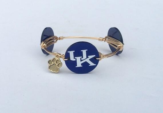 Kentucky bangle bracelet, UK bangle, University of Kentucky jewelry, Wire wrapped bangle, wire wrapped bracelet, Kentucky Wildcats, BBN