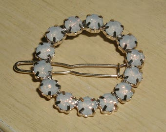 Beautiful Opalescent Prong-Set Faceted Rhinestone Circle Hair Clip Barrette