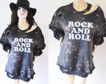 Rockn Roll Starry sky Bleached Distressed Destroyed Sweatshirts bleached distressed shirt Medium