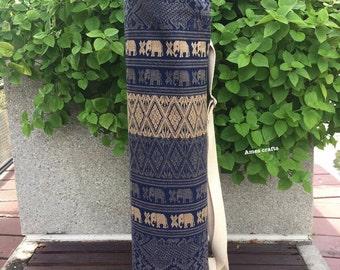 Handmade Thai Elephant Blue Cotton Fabric Yoga Pilates Mat Bag Carrier
