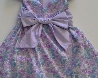 Girls Easter Dress, Girls Spring Dress, Girls Wrap Around Dress, Girls Purple Flower Dress