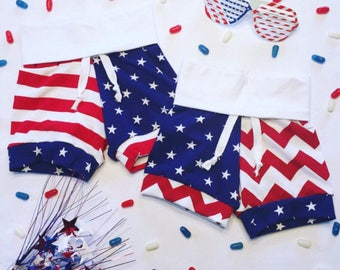 Stars and Stripes/Chevron Shorts, patriotic shorts, toddler 4th of july clothes, red white and blue shorts.