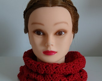 Red Infinity Scarf Cowl Crochet 100% Cotton