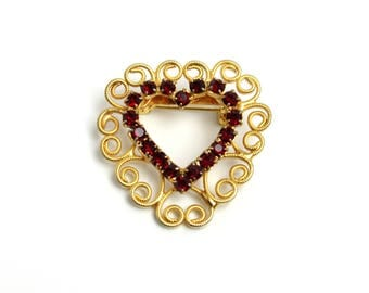 Vintage Red Rhinestone and Gold Tone Metal Heart Small Brooch