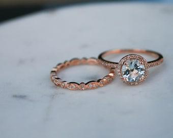 Round Aquamarine Diamond, Halo Engagement Ring, Diamond, Rose Gold, Halo Diamond, Engagement Ring