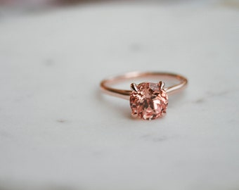 Round Champagne Sapphire Solitaire Engagement Ring, Rose Gold Ring, Wedding Ring, Engagement Ring, Champagne Sapphire