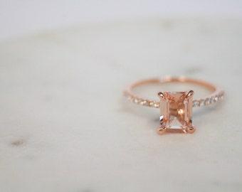 6x8mm Emerald Cut Morganite Ring, Rose Gold Ring, Diamond Ring, Engagement Ring, Wedding Ring