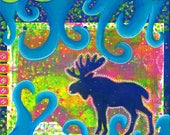 Colorful Moose Print Wall...
