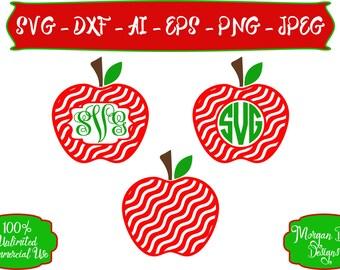 Apple Monogram SVG - Apple SVG - Teacher SVG - Monogram svg - Files for Silhouette Studio/Cricut Design Space