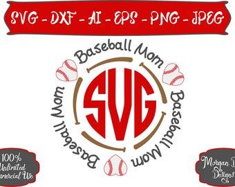 Baseball Mom SVG - Baseball Monogram SVG - Baseball SVG - Monogram svg - Sports Mom svg - Files for Silhouette Studio/Cricut Design Space