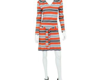 1960's Vintage Women's S or 6 Striped Knit Belted Mod Sheath Dress