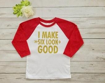 Six Birthday shirt, raglan Birthday shirt red/ white. Glitter Birthday shirt