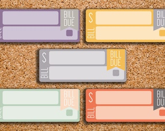15 SOLID Bill Due Label Planner Stickers for 2017 Inkwell Press IWP-S19