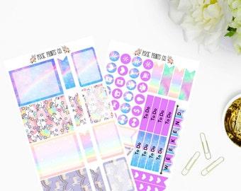 Unicorn & Rainbows Planner Sticker Kit for use with Erin Condren, Life Planner, Mambi, Happy Planner, Recollections Planner, Planner Sticker