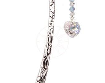 Swarovski Crystal Birthstone Pewter Bookmark With Heart MARCH - AQUAMARINE