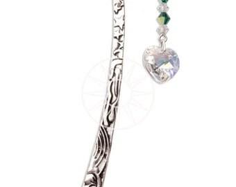 Swarovski Crystal Birthstone Pewter Bookmark With Heart MAY - EMERALD