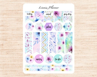 Watercolor Flowers Flags (matte planner stickers, Filofax, Kikki K, Websters Pages, Color Crush)