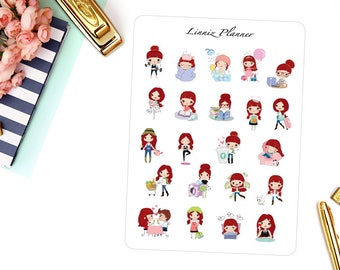 Sampler Sheet Lilly | Girl (matte planner stickers, perfect for planners)