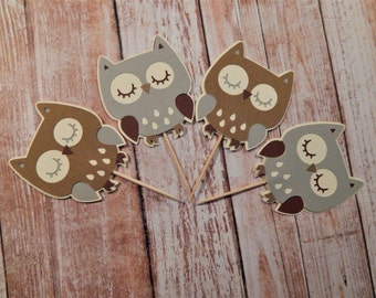 Neutral Owl Cupcake Toppers, Owl Baby Shower, Owl Birthday, Owl Party Decor