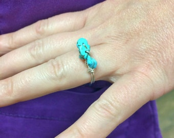 Wire Wrapped Turquoise Nugget Ring