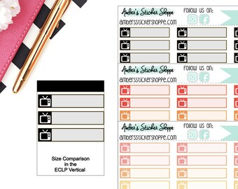 Bright or Pastel or Black TV Show Box Planner Stickers