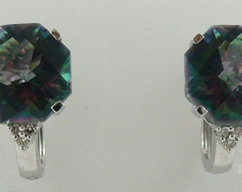 Mystic Topaz 11.7ct Earring 14k White Gold & Diamonds 0.07ct