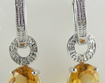 Citrine 4.51ct Earring with Diamonds 0.09ct 18k White Gold
