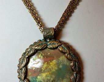 Gold Patina Pendant Necklace