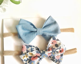 Rifle Paper Co bow, Periwinkle floral sailor bow, set of 2, blue sailor bow, baby girl bows, nylon headbands, baby shower gift