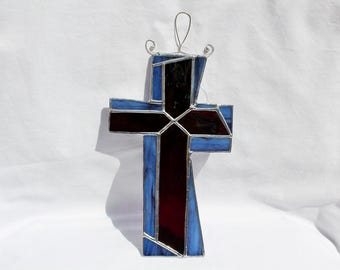 Stained Glass Cross Suncatcher - Stained Glass Suncatcher - Stained Glass Cross - Purple and Blue Cross - Cross Suncatcher - Religious Art