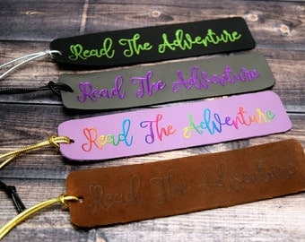 Personalized Bookmark - Leather Bookmark - Custom Bookmark - Book Lover Gift - Reader Gift - Young Reader Gift - Foil Debossed Bookmark
