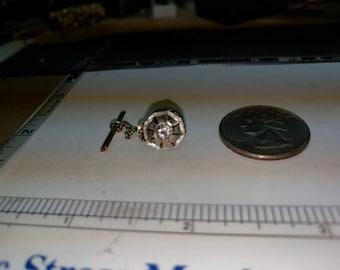 Vintage 14k two tone diamond tie tac 3.2g baecp