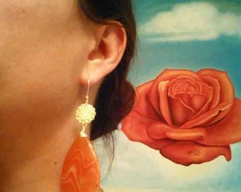 Orange Teardrop Agate Wrap Brass Earrings/ Large Danlge Earrings/ Romantic/ Striped Agate/ Filigree Gold Brass/ Wedding/ Boho