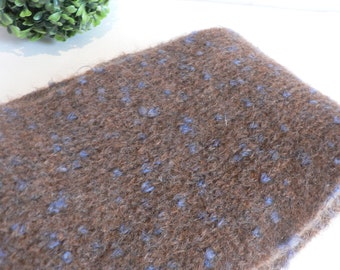 Blue Speckled Brown Mohair Scarf - Mohair Wool Blend Extra Long Scarf - Italian Made - Grevi Firenzi Scarf
