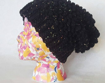 Black Confetti Bumpy Slouch Hat