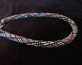 Beaded crochet necklace rope. Black, Grey, red, white beaded rope. Beaded harness necklace and bracelet set, crochet beaded rope set