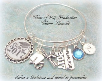 2017 Graduate Charm Bracelet, Graduation Gift for Class of 2017, Personalized Birthstone Initial Graduation Gift, Daughter Graduation Gift,