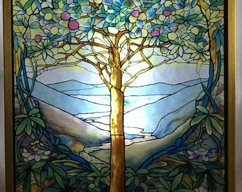 Tree of Life Glass Suncatcher Reproduction of Tiffany's Original Stained Glass by Louis C. Tiffany.