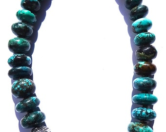 """Gorgeous Huge Heavy 245 gr Old Vintage GENUINE TURQUOISE 20"""" Necklace"""