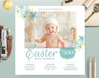 Easter/ Spring Mini Session Flyer Template for Photographer, Photography Photoshop Mini Session Marketing Card - INSTANT DOWNLOAD MS022