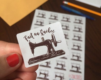 "Stickers ""fait au Québec""  sewing machine"