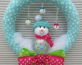Snowman Wreath, Winter Wreath, Polka Dot Wreath