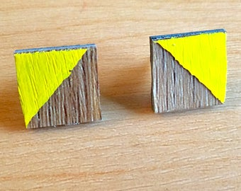 Faux Bois Woodgrain Yellow Square Stud Earrings