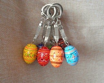 Set of 10 Keychains Small Ukrainian Painted Wooden Easter Eggs for a decor Ukraine Pysanka Ukrainian Pysanky Писанка Україна 1,25""