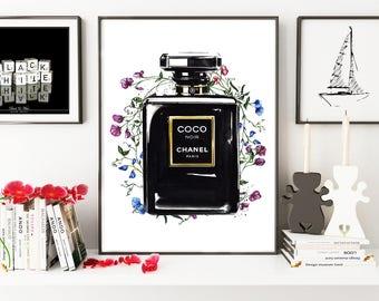 Chanel, Chanel perfume, Chanel Noir, fashion illustration, Chanel print, Chanel illustration, watercolor Chanel, New Chanel, Coco Chanel art