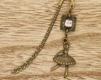 Ballerina Ballet Dancer With  Flower Bead Bookmark Bronze Tone