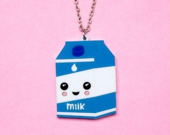 Cute kawaii milk carton necklace | Milk necklace | Food necklace | Breakfast Necklace | Japanese Jewellery